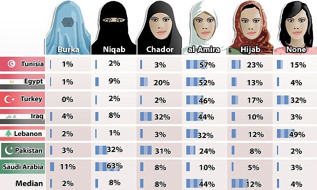 BurqaChartPoll7MuslimNationsPew
