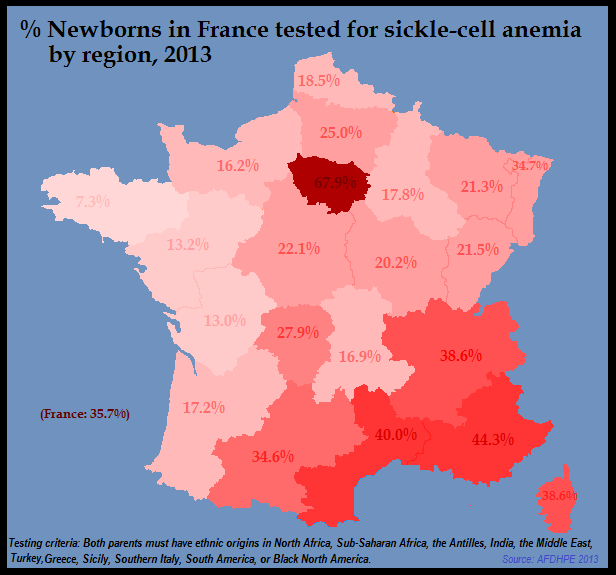 France sickle cell map 2013