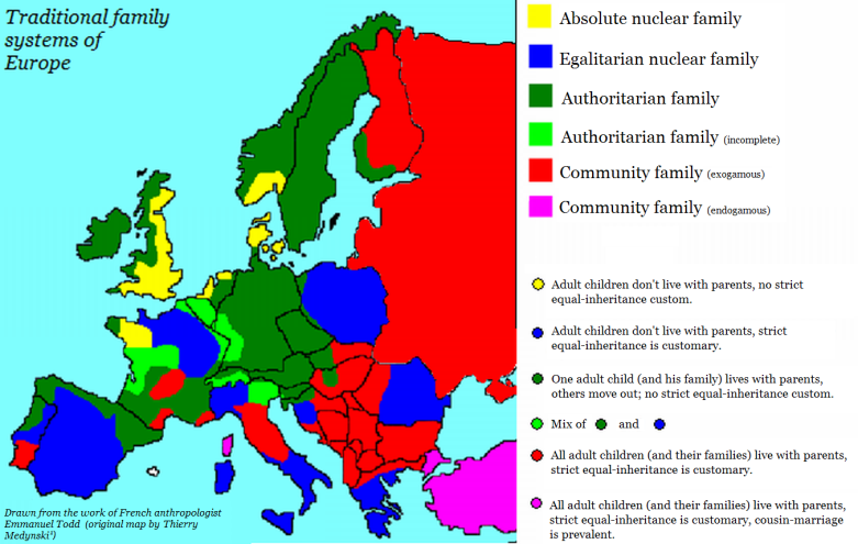 Todd's family system map by Medynski, English translation