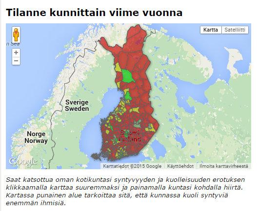 Kartta paljastaa karun totuuden - Yhä useammassa kunnassa kuolee enemmän ihmisiä kuin syntyy - Google Chrome 10.8.2015 140920