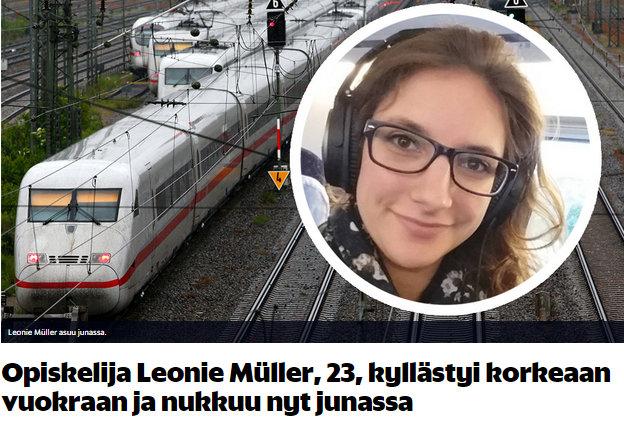 Opiskelija Leonie Müller, 23, kyllästyi korkeaan vuokraan ja nukkuu nyt junassa - Ulkomaat - Nyt - Google Chrome 27.8.2015 192353