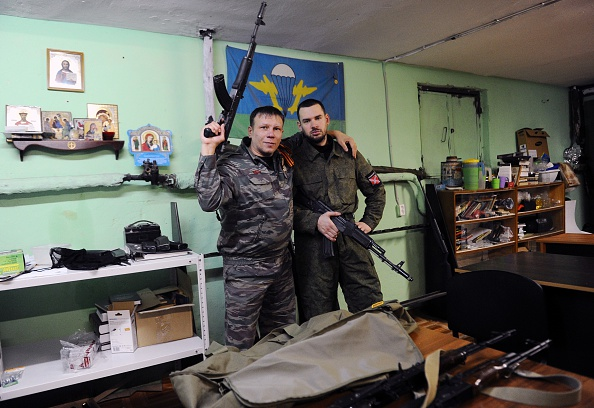 *TO GO WITH AFP STORY BY MARINA KORENEVA* A picture taken on February 28, 2015 shows members of the Russian Imperial Movement, a nationalist group in Russia, volunteers of the self-declared Donetsk People's Republic Dmitry Gaydun nick-named