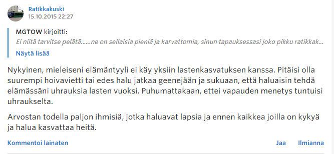 Miksi naiset eivät enää halua lapsia - Sinkut - Suomi24 Keskustelut - Google Chrome 22.10.2015 171747