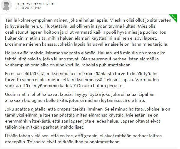 Miksi naiset eivät enää halua lapsia - Sinkut - Suomi24 Keskustelut - Google Chrome 22.10.2015 173131
